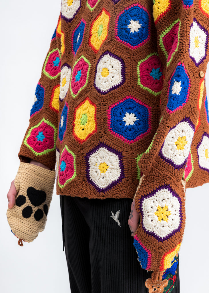 Brown Hand Crochet Bear Pullover
