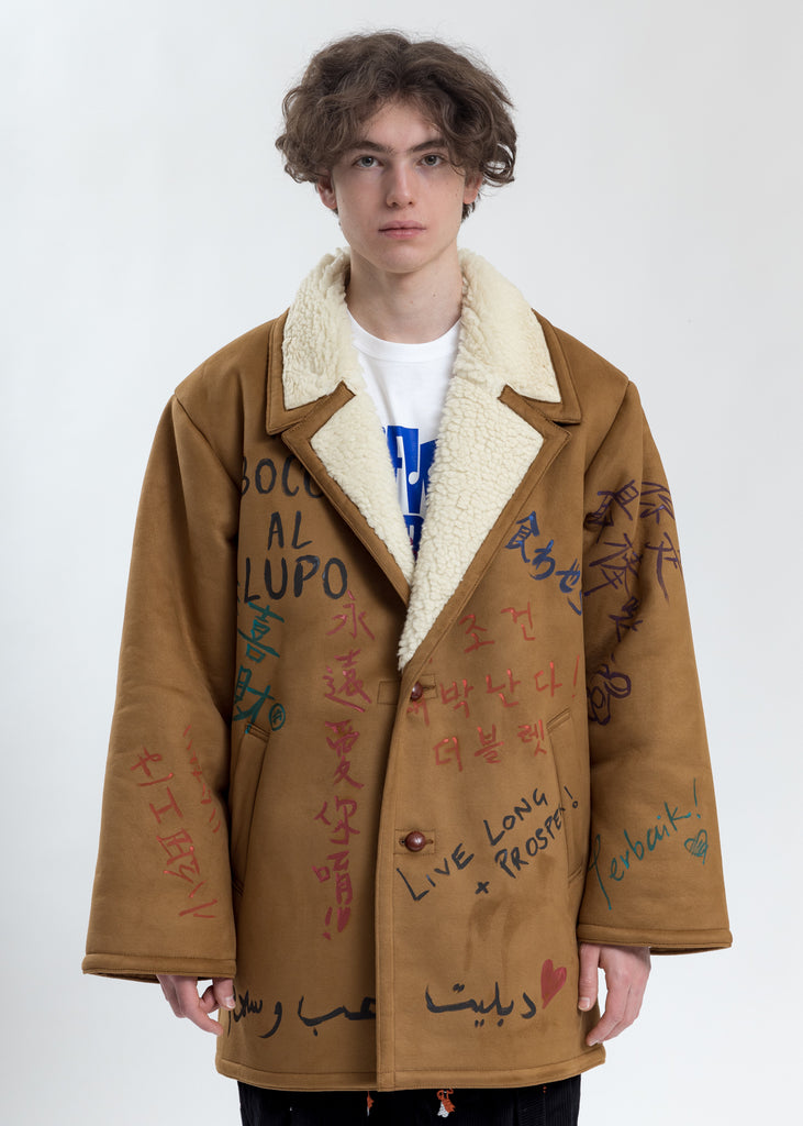 Camel Message Hand-Painted Mouton Coat