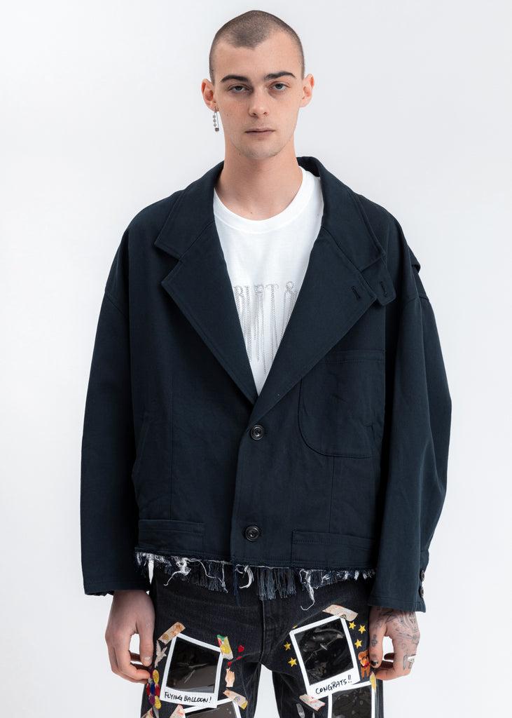 Dark Navy Silk Chino Cut Off Jacket