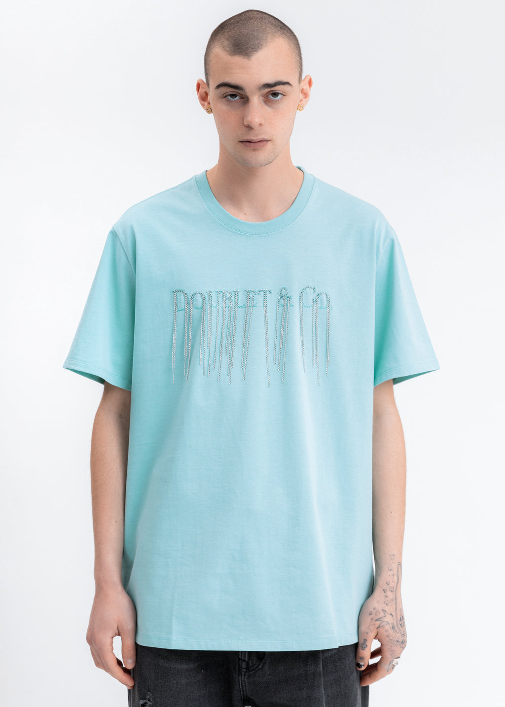 Emerald Chain Fringe Embroidery T-Shirt