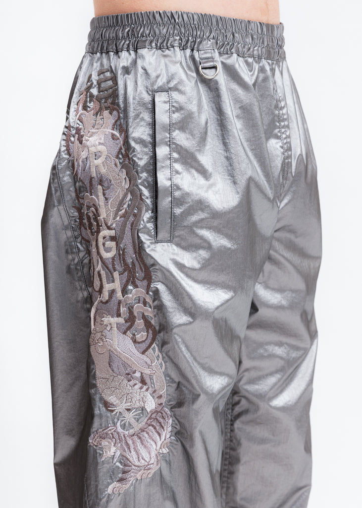 Grey Gradation Chaos Embroidery Track Pants