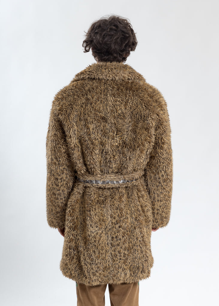 Leopard Spike Fur Long Coat