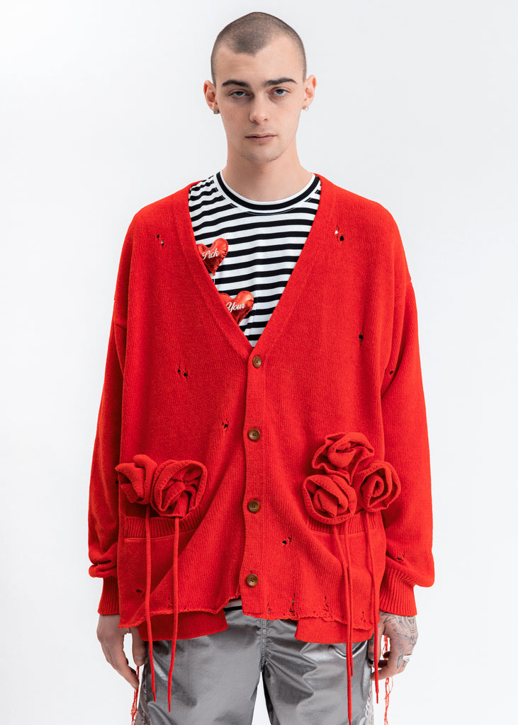 Red Flower Corsage Cardigan