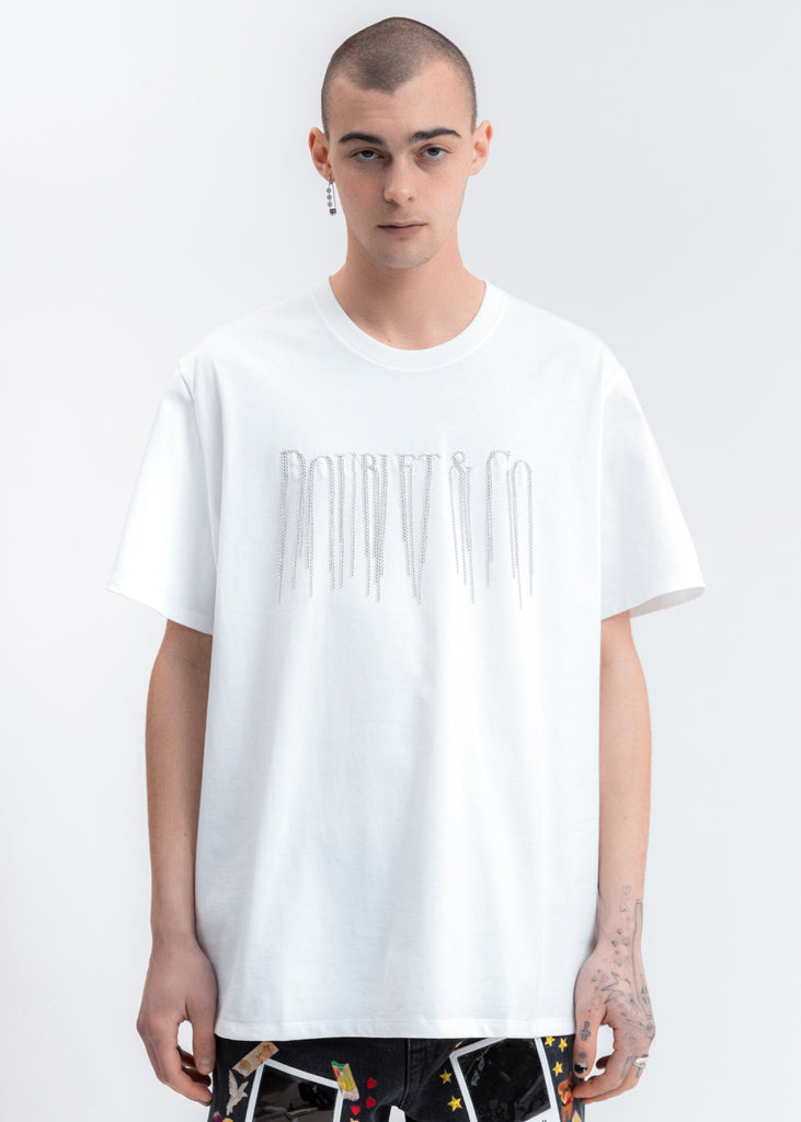 White Chain Fringe Embroidery T-Shirt