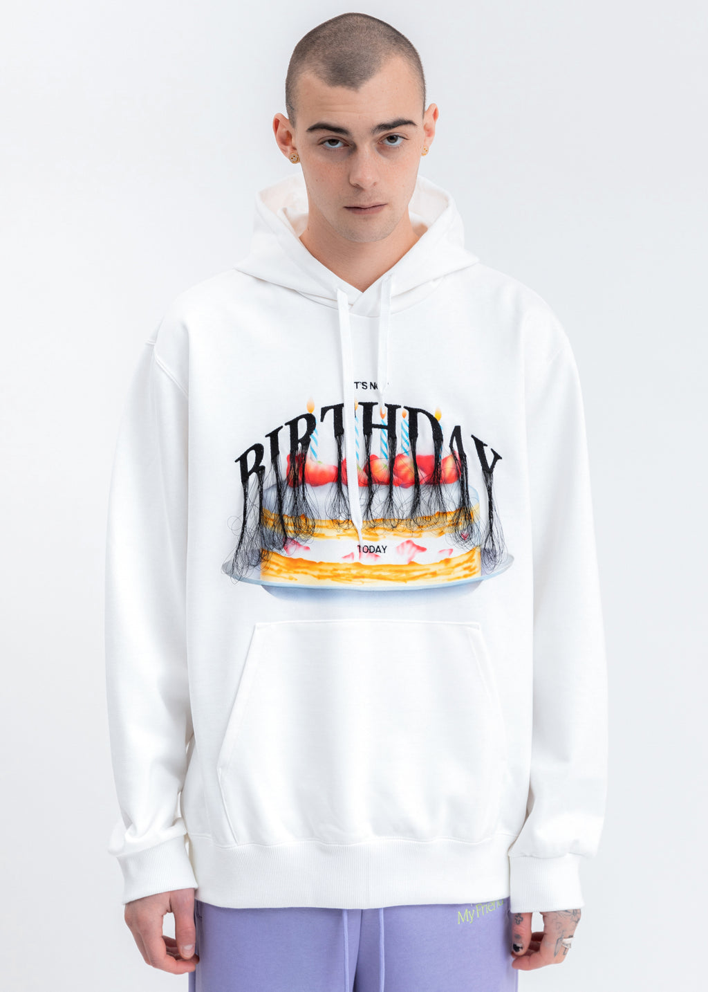 White Not Birthday Embroidery Hoodie