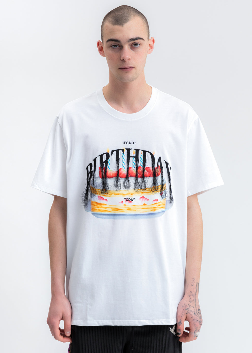 White Not Birthday Embroidery T-Shirt