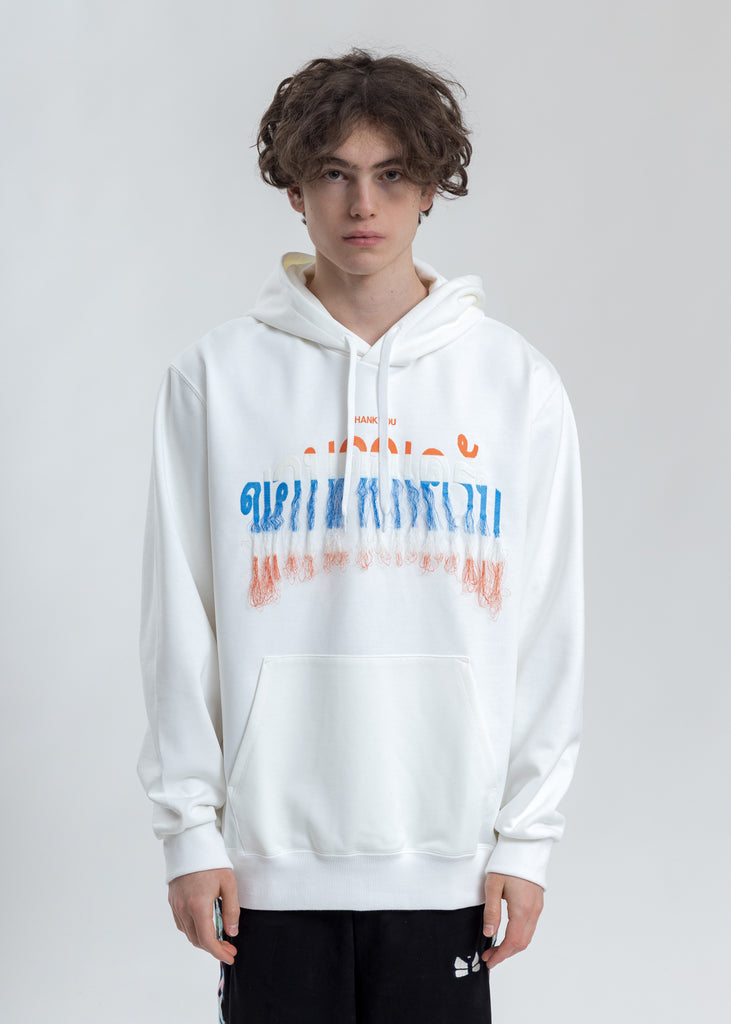 White Thank You Fringe Embroidery Hoodie