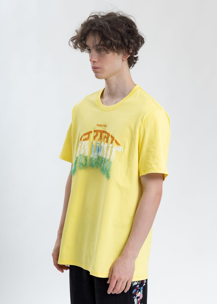 Yellow Thank You Fringe Embroidery T-Shirt