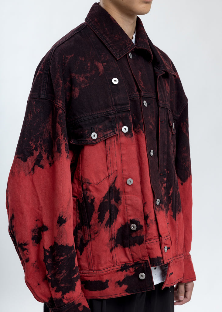 Black & Red Tie Dye Denim Jacket