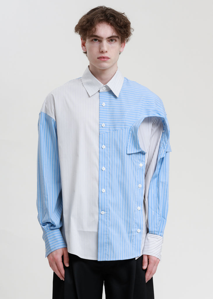 White and Blue Stripe Layered Shirt