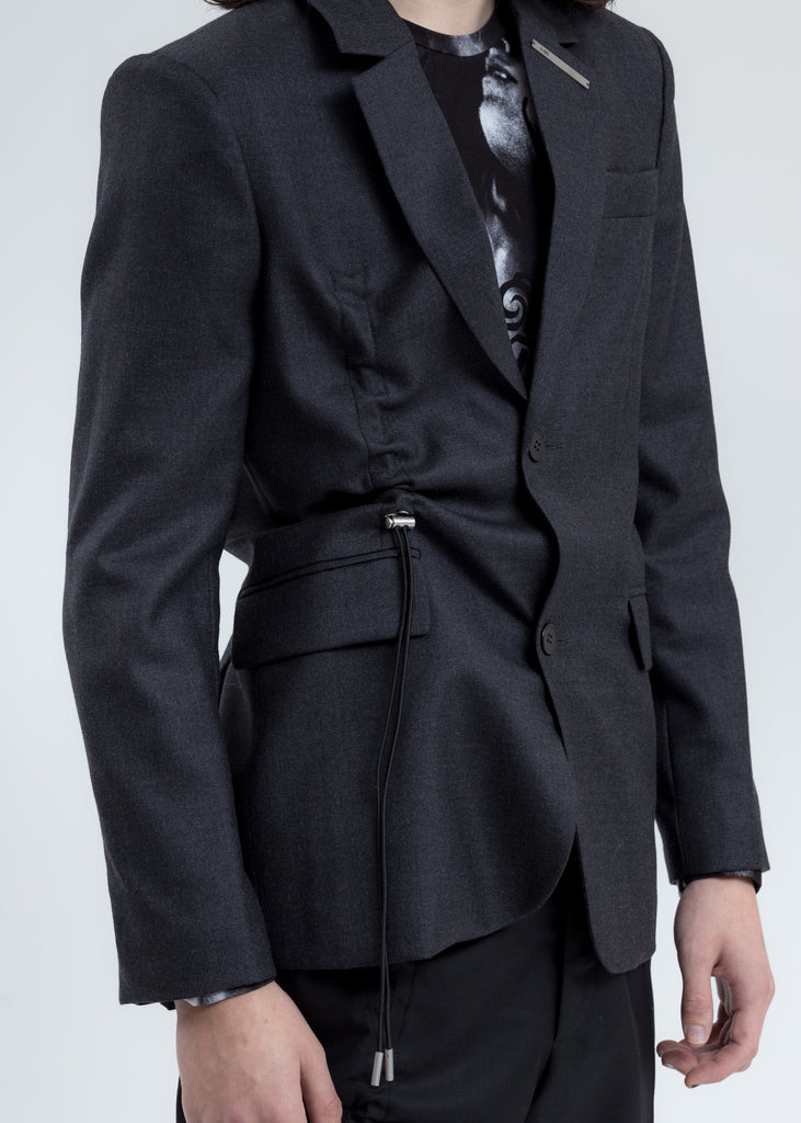 Charcoal Blazer with Drawstrings