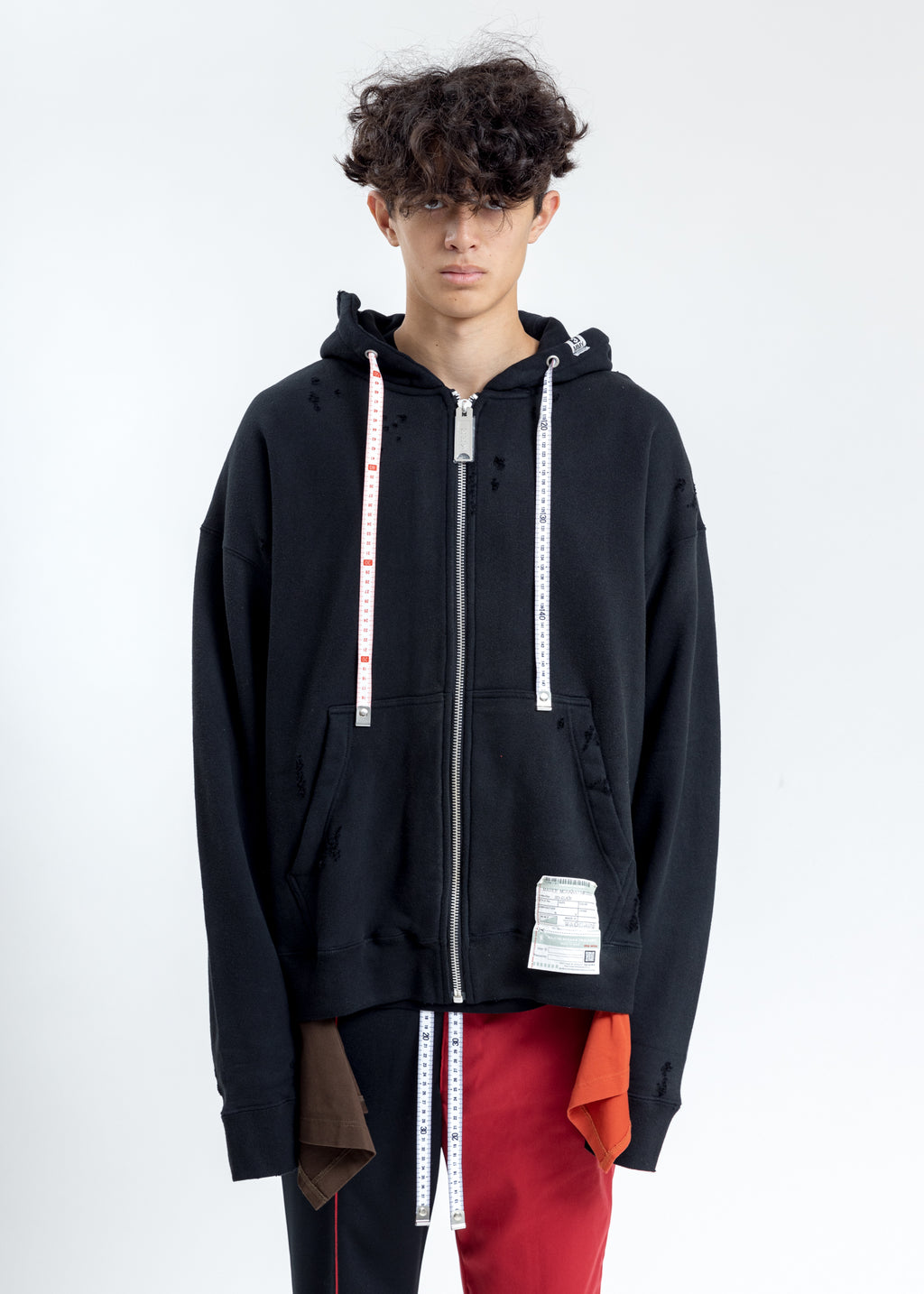 Black Layer Damaged Hoodie