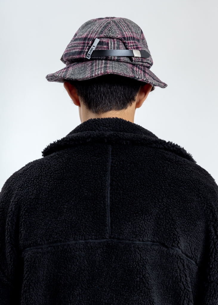 Pink Wool Check Cap Hat
