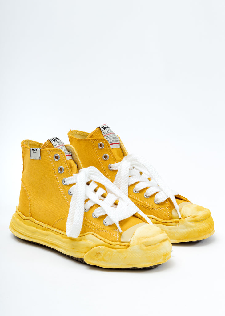 Yellow Overdyed Original Sole Toe Cap High Top Sneaker