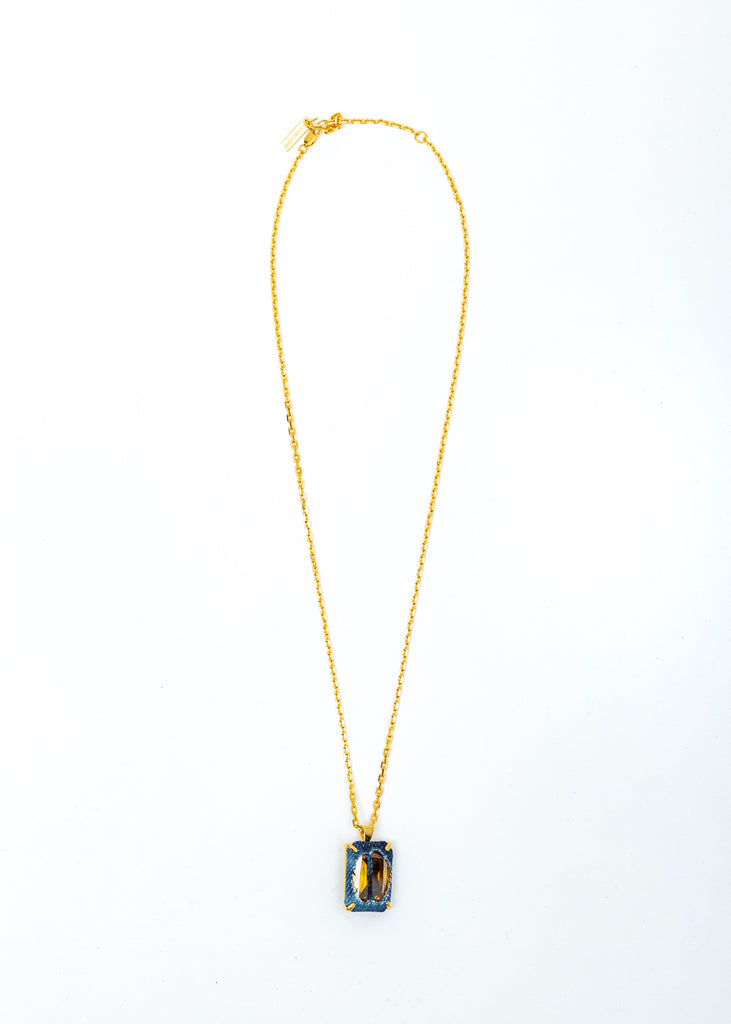 Gold Denim Octagonal Necklace (Blue Denim, Yellow Stone)