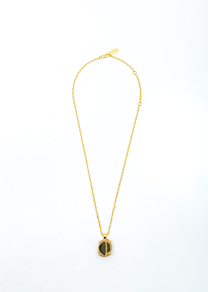 Gold Denim Oval Necklace (Amber Denim, Olive Stone)