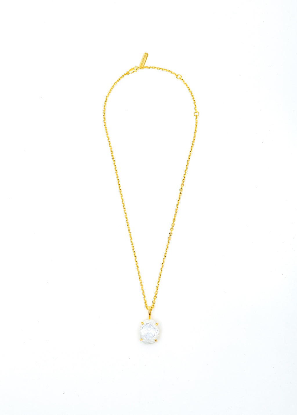 Gold Denim Oval Necklace (White Denim, Clear Stone)