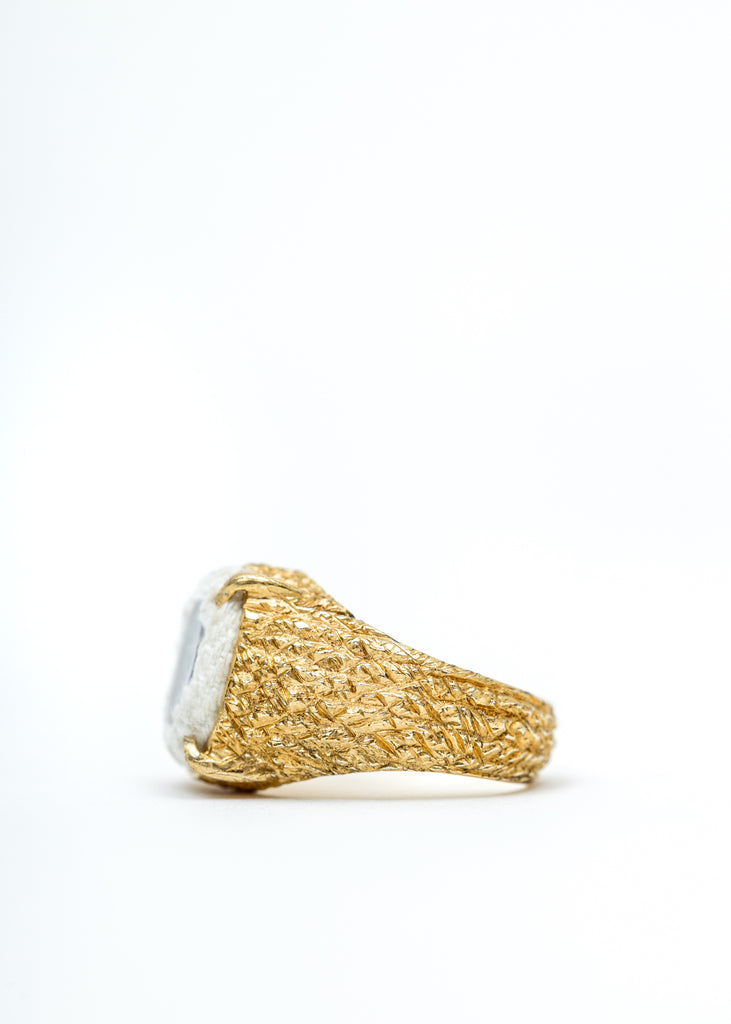 Gold Denim Oval Planet Signet Ring (White Denim, Clear Stone)