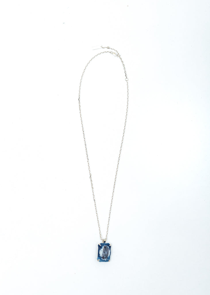 Silver Denim Octagonal Necklace (Blue Denim, Clear Stone)