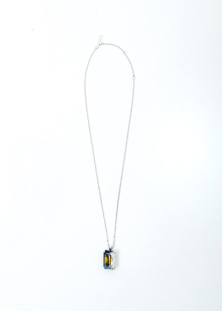 Silver Denim Octagonal Necklace (Blue Denim, Yellow Stone)