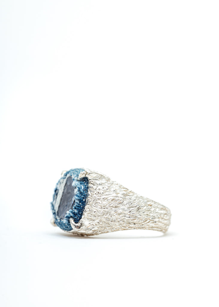 Silver Denim Oval Planet Signet Ring (Blue Denim, Clear Stone)