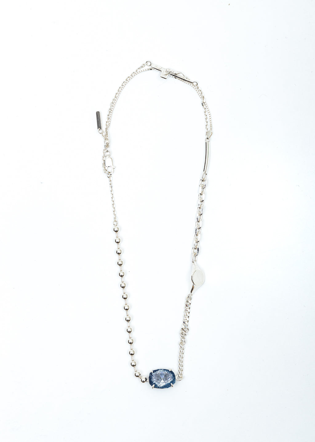 Silver Half Crucifix Signet Denim Oval Necklace (Blue Denim, Clear Stone)
