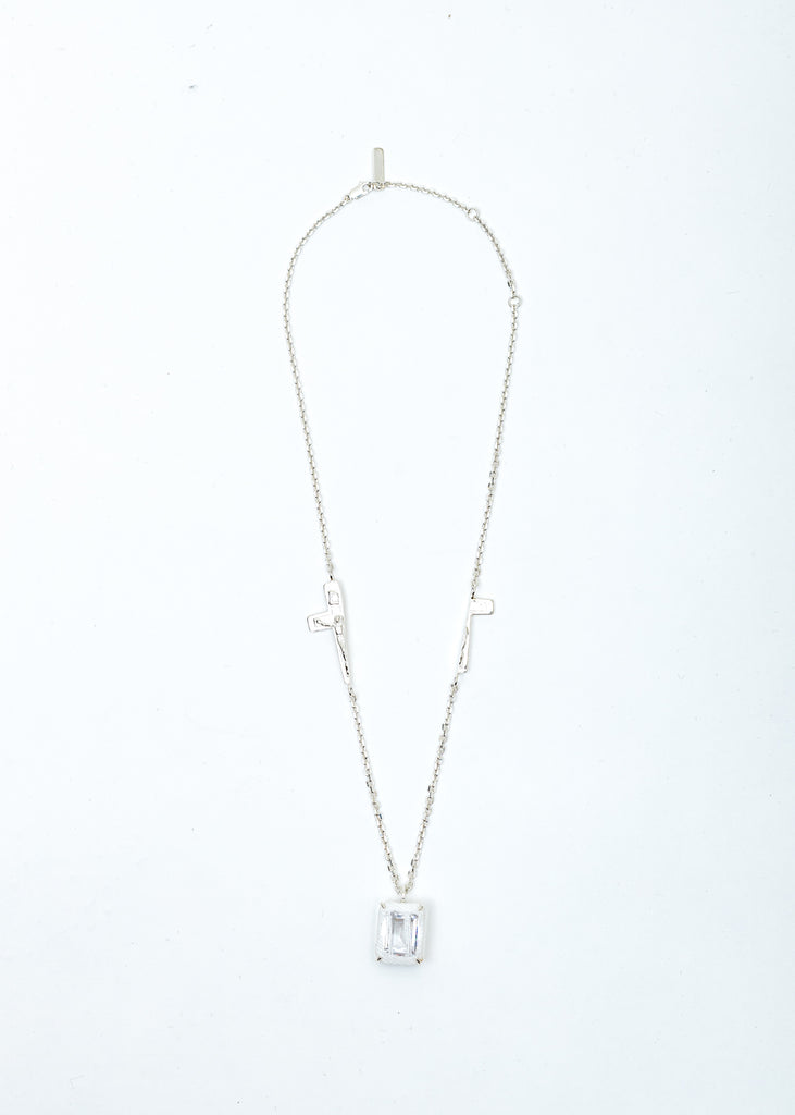 Silver Split Crucifix Denim Octagonal Necklace (White Denim, Clear Stone)