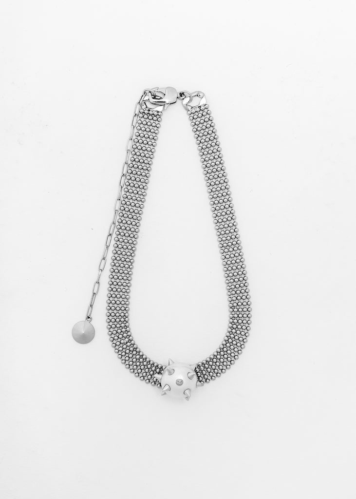 Silver Studded Pearl Necklace