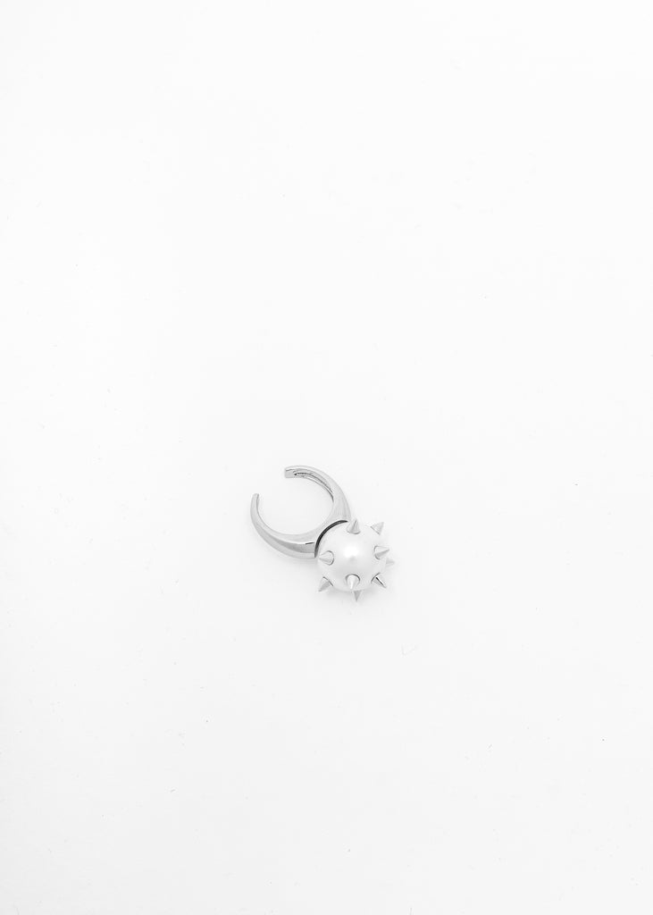Silver Studded Pearl Ring