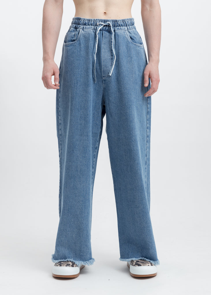 Washed Blue  Raw Edge  Elastic Denim  Pants