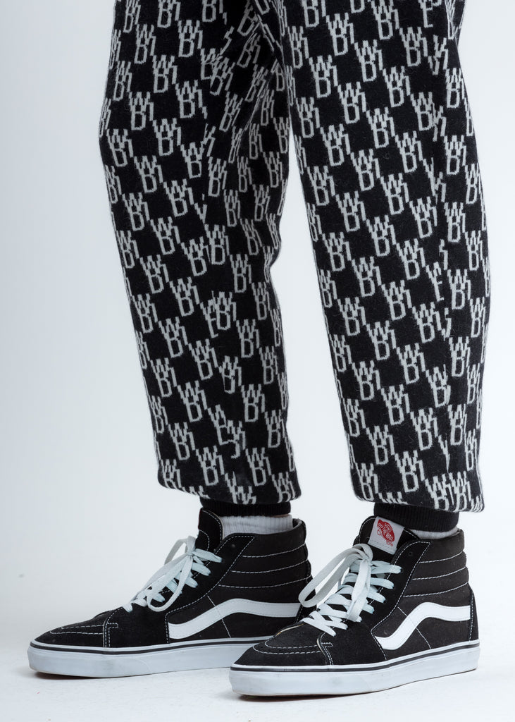 Black Logo Knit Jacquard Trouser
