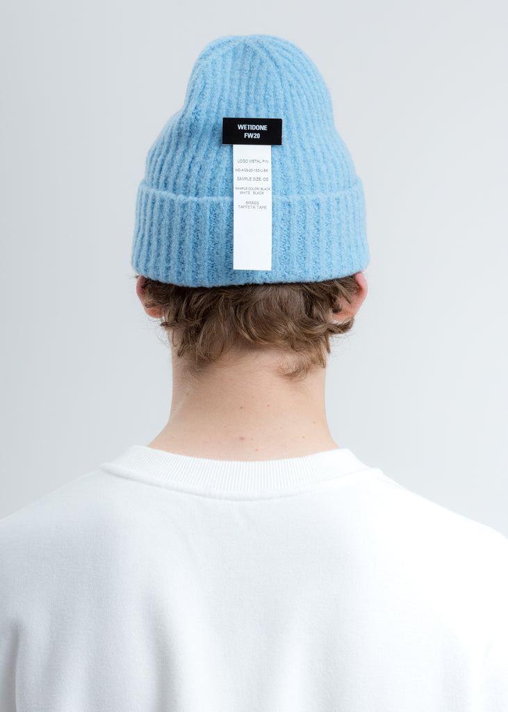 Blue Felted Knit Long Beanie W/Pin