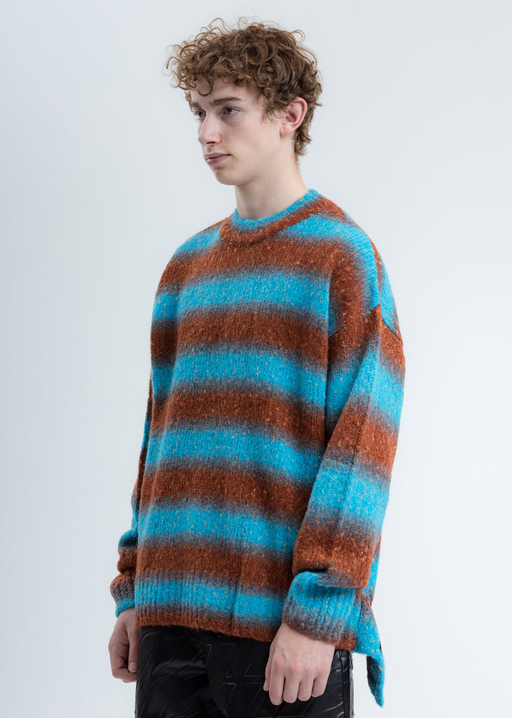 Blue Gradation Stripe Knit Sweater