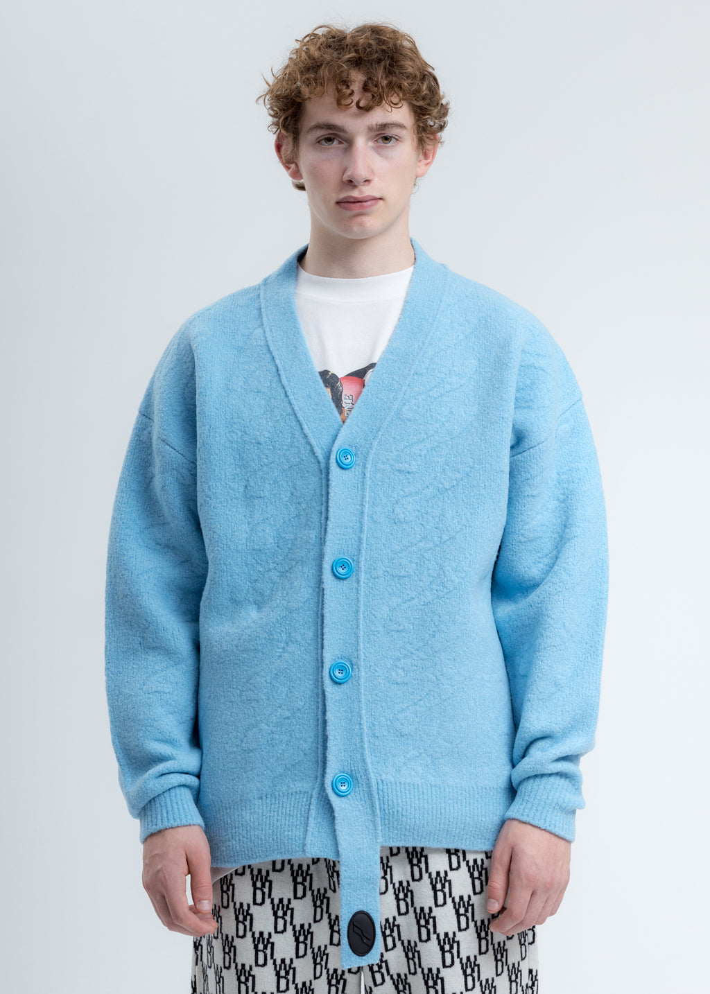 Blue Logo Cable Felted Knit Cardigan