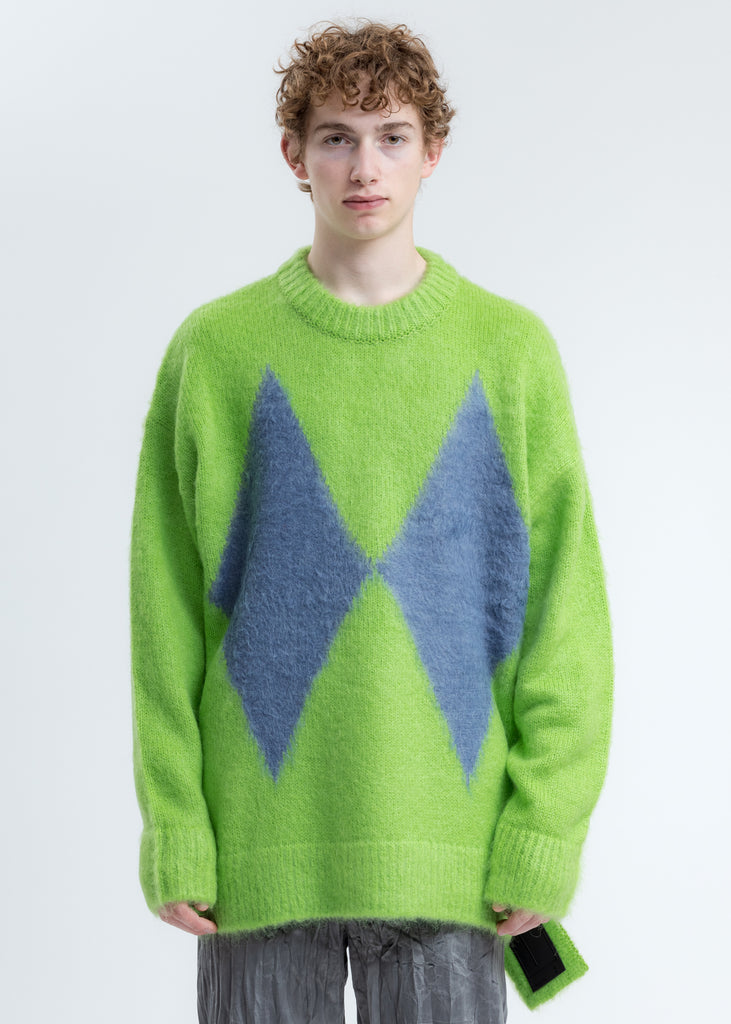 Green Argyle Knit Sweater