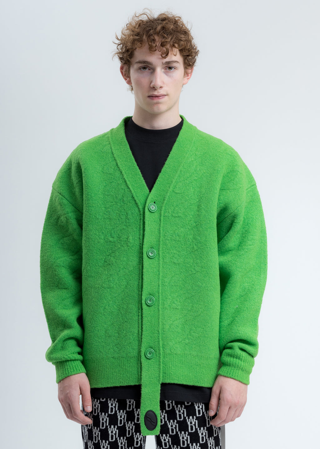 Green Logo Cable Felted Knit Cardigan