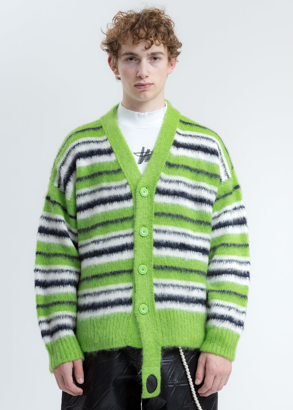 Green Mohair Stripe Knit Cardigan