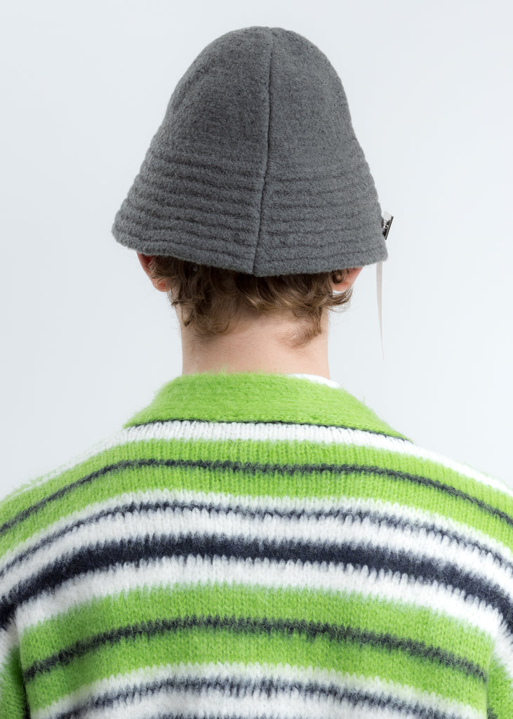 Grey Felted Knit Narrow Bucket Hat W/Pin