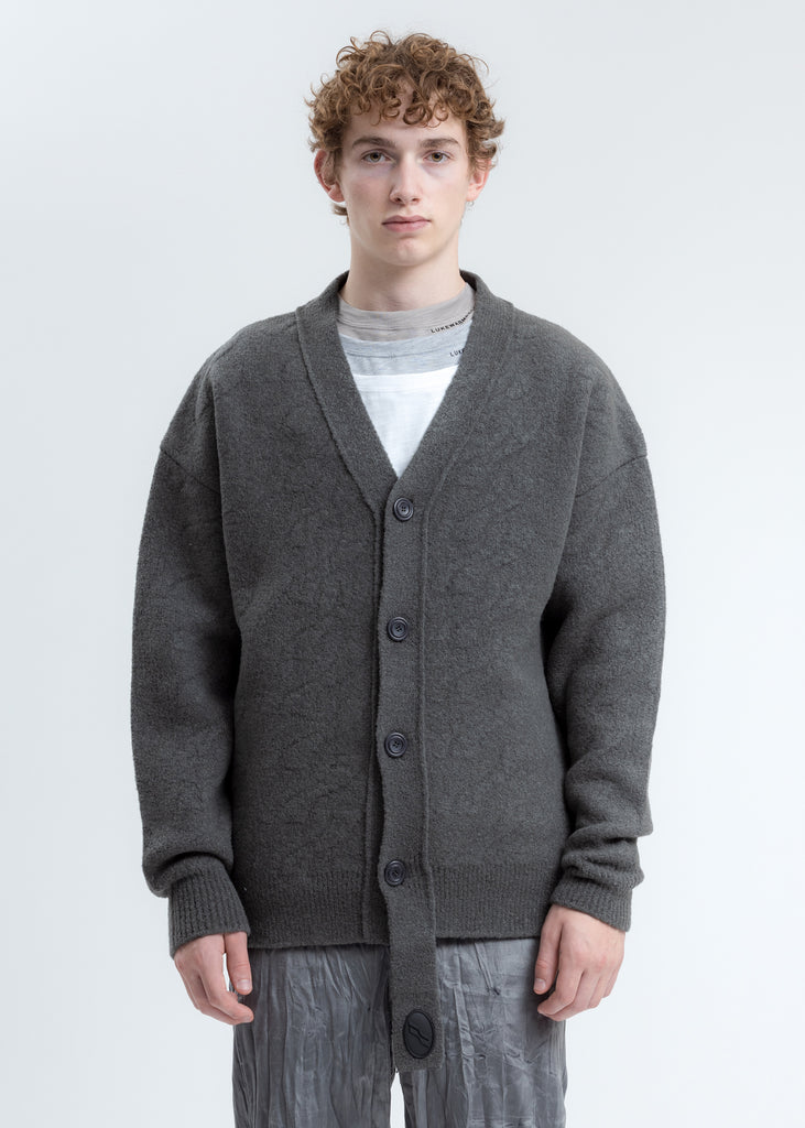 Grey Logo Cable Felted Knit Cardigan