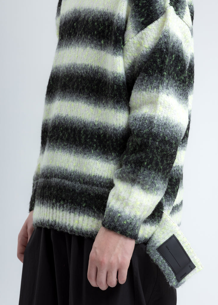 Neon and Black Gradation Stripe Knit Sweater