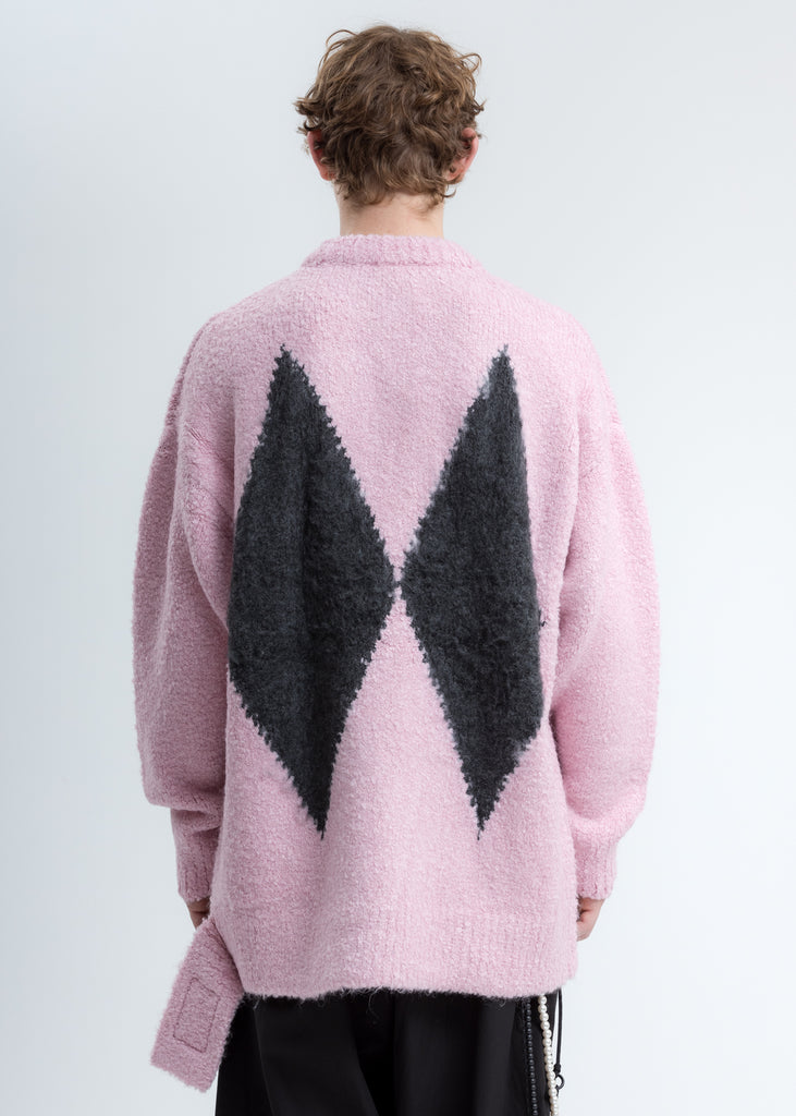 Pink Argyle Knit Sweater