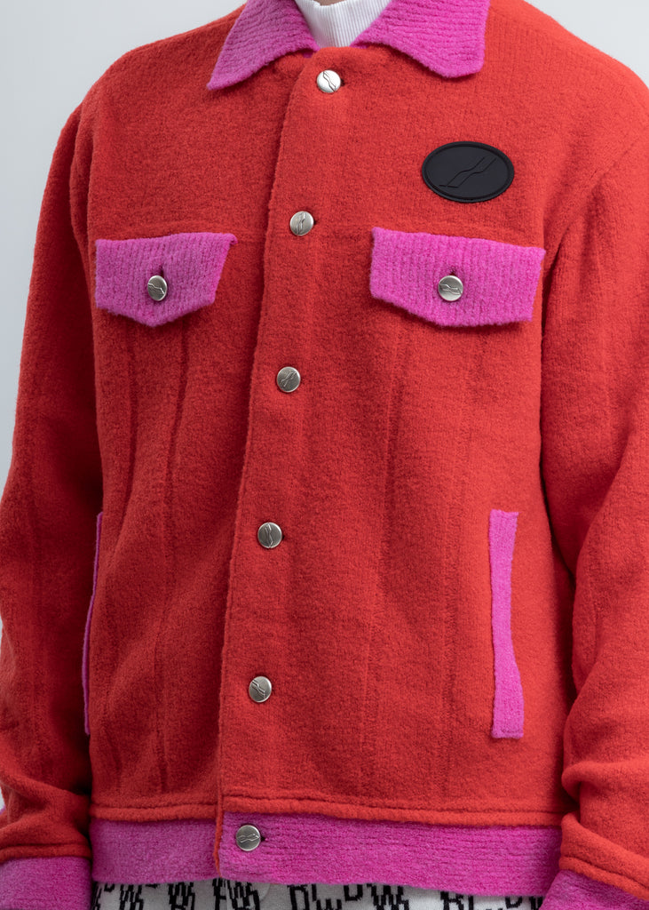 Red Felted Knitted Jacket