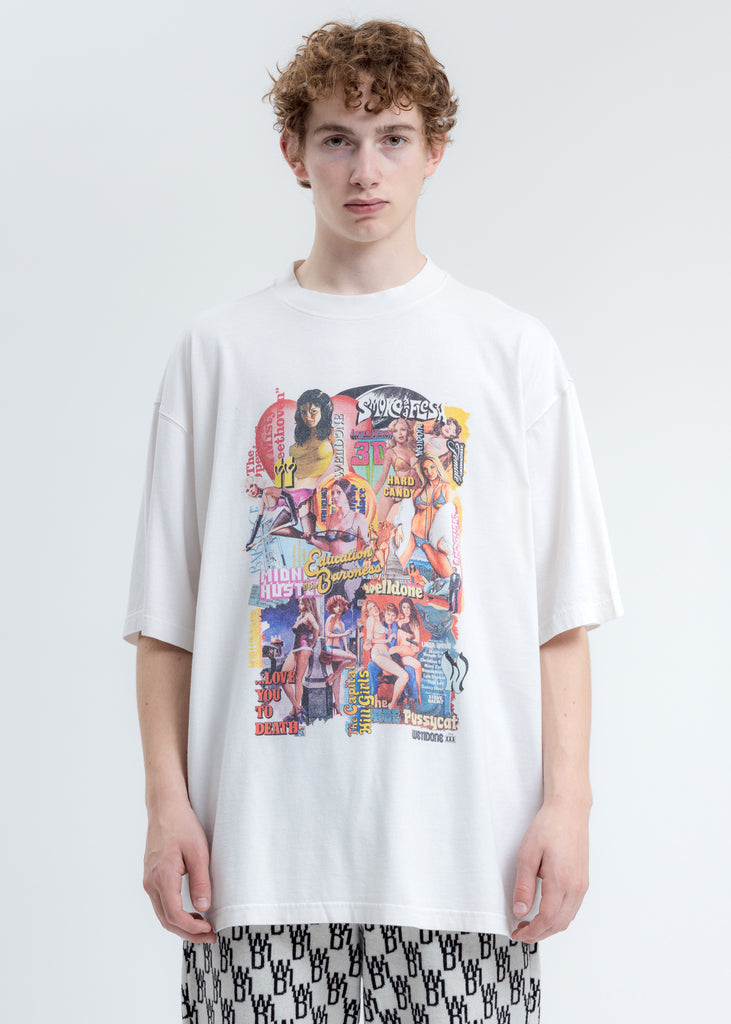 Washed White New Movie Collage T-Shirt