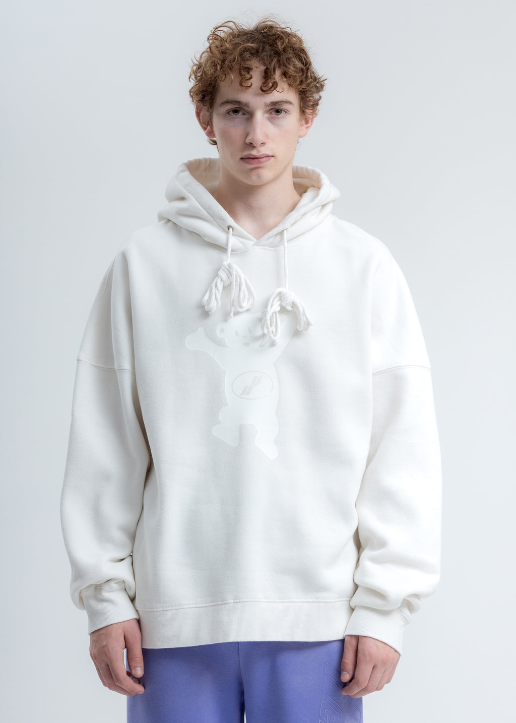 White WE11DONE Teddy Hoodie
