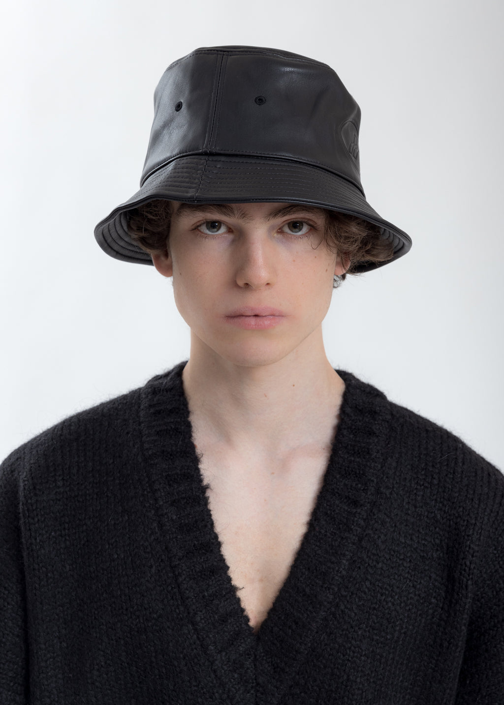 Black WD Logo Embossed Faux Leather  Bucket Hat
