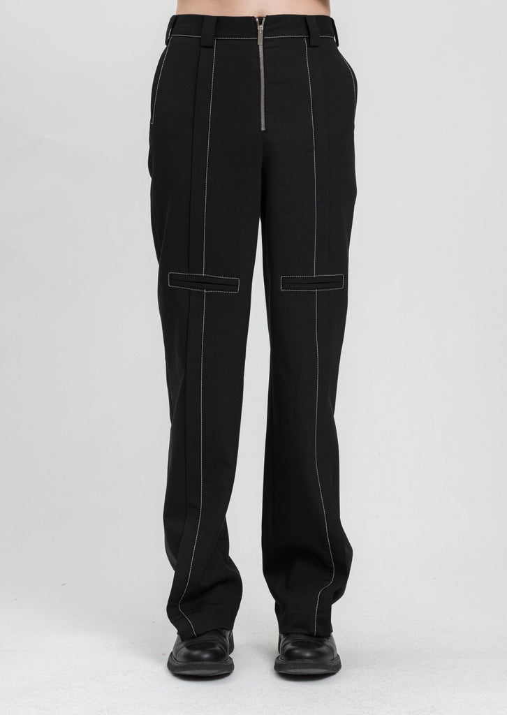 Black Contrast Top Stitch Tailor Trouser