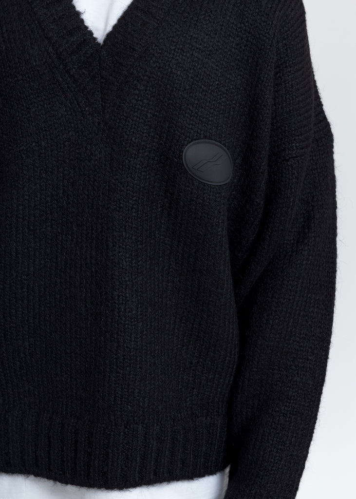 Black Embroidered Logo Oversized Knit Sweater