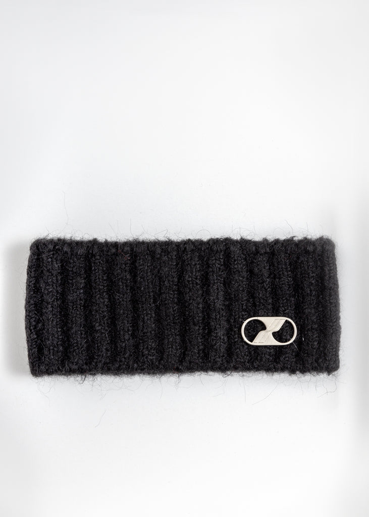 Black Embroidered Metal Logo Hairband