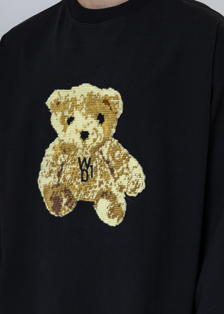 Black Embroidered Teddy Long Sleeve