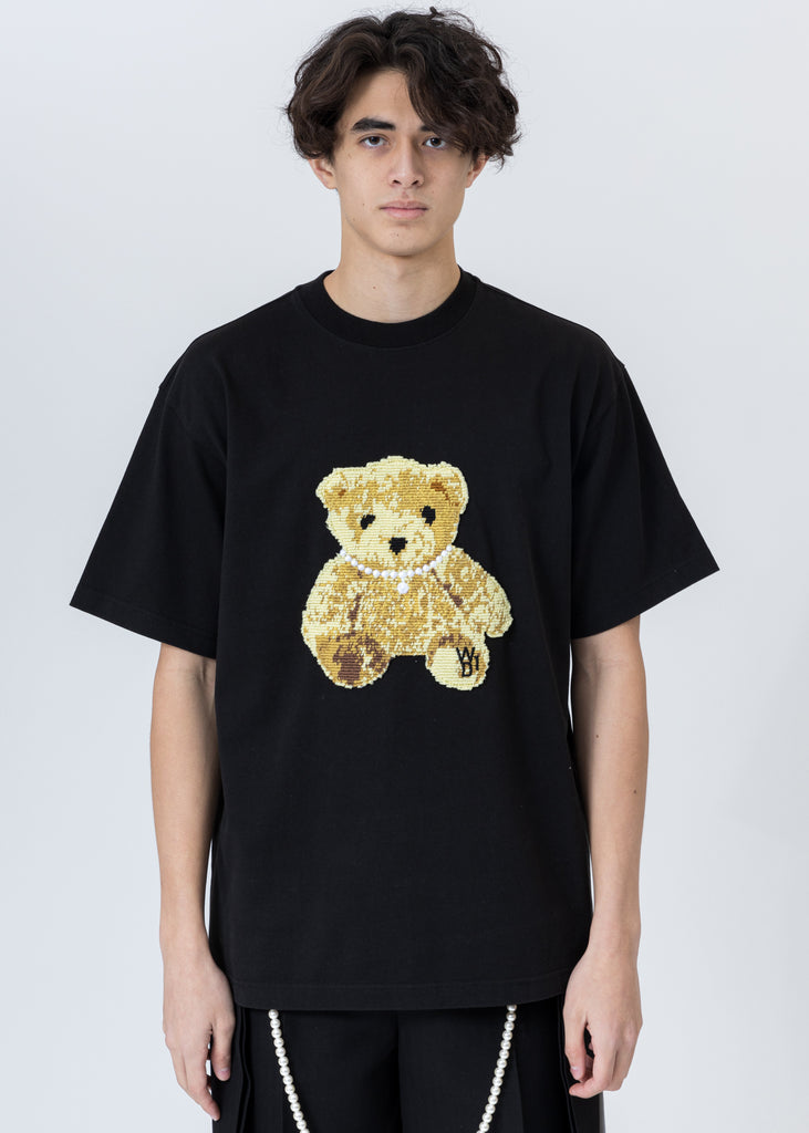 Black Embroidered Teddy T-Shirt
